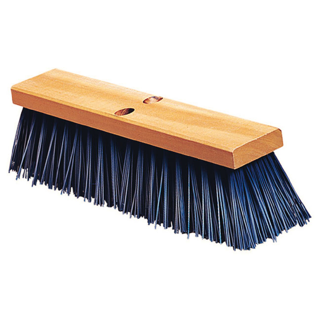 "Carlisle 3611401814 18"" Street Sweep - Heavy, Hardwood Block, 5-1/8"" Blue Poly Bristles"