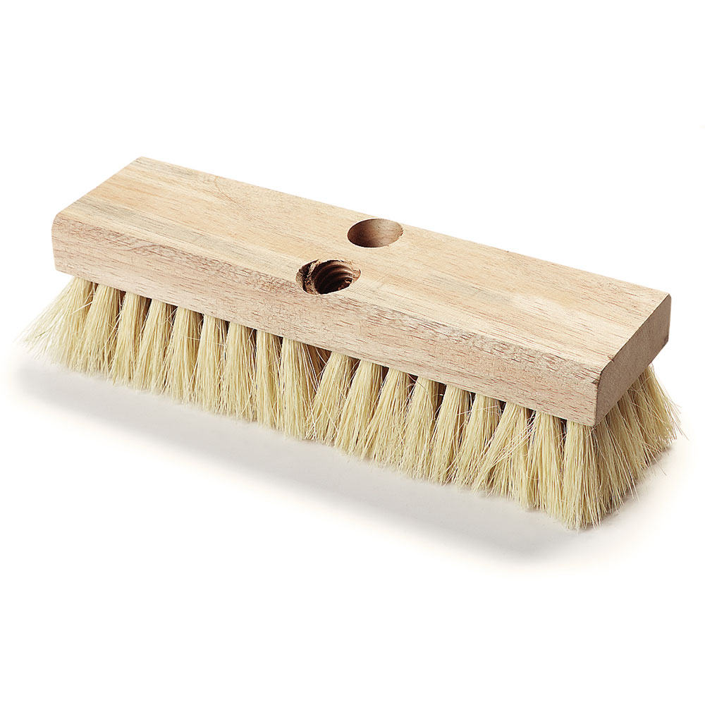 "Carlisle 3619300 10"" Deck Scrub Brush Head - Tampico/Hardwood"