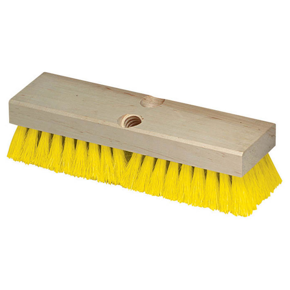"Carlisle 36193MX04 10"" Deck Scrub Brush - Poly/Hardwood, Yellow"