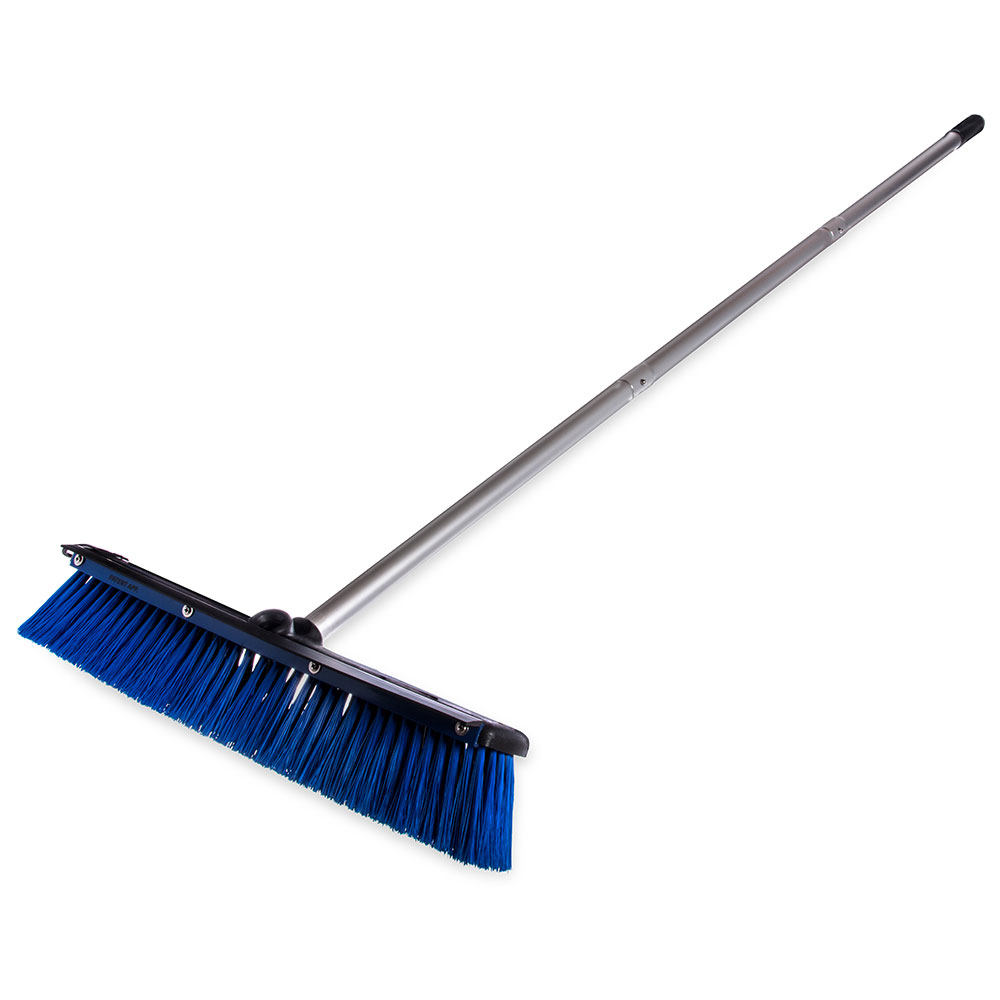 "Carlisle 3621961814 18"" Floor Sweep with Handle - Plastic Block, Squeegee, Blue"