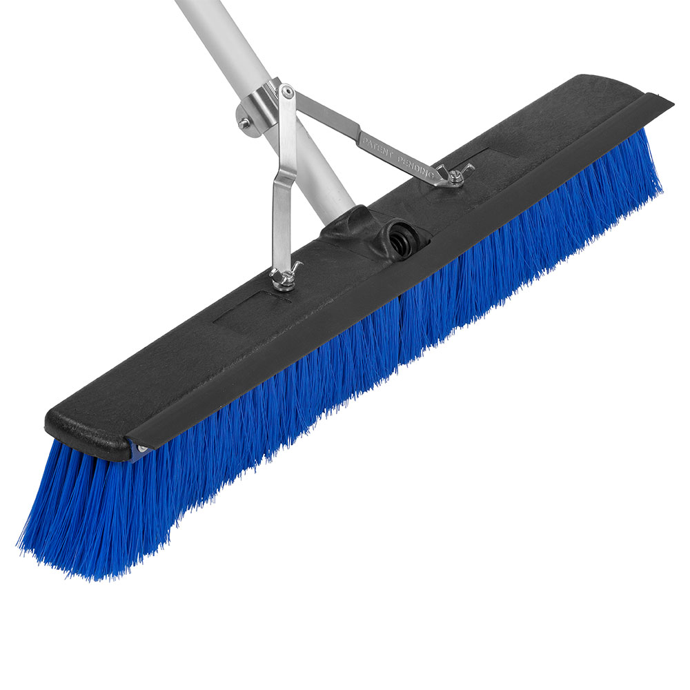 "Carlisle 3621962414 24"" Floor Sweep with Handle - Plastic Block, Squeegee, Blue"