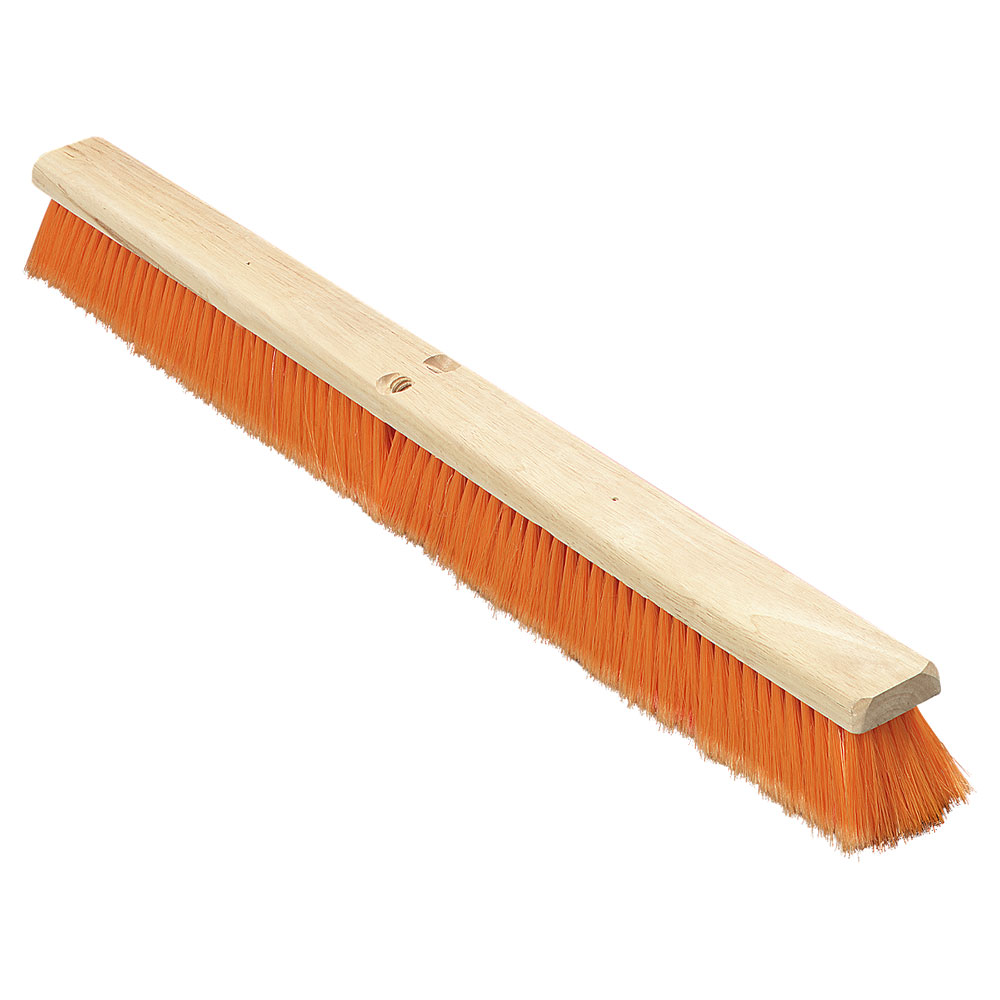 "Carlisle 36223624 36"" Floor Sweep - Fine/Medium, Hardwood Block, Orange Poly Bristles"