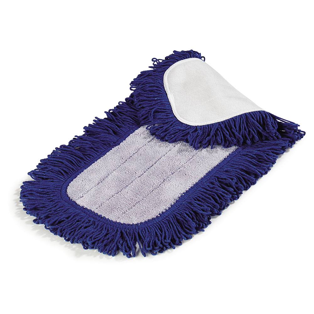 "Carlisle 363311814 18"" Dry Mop Pad - Electrostatic, Looped Fringe, Blue"