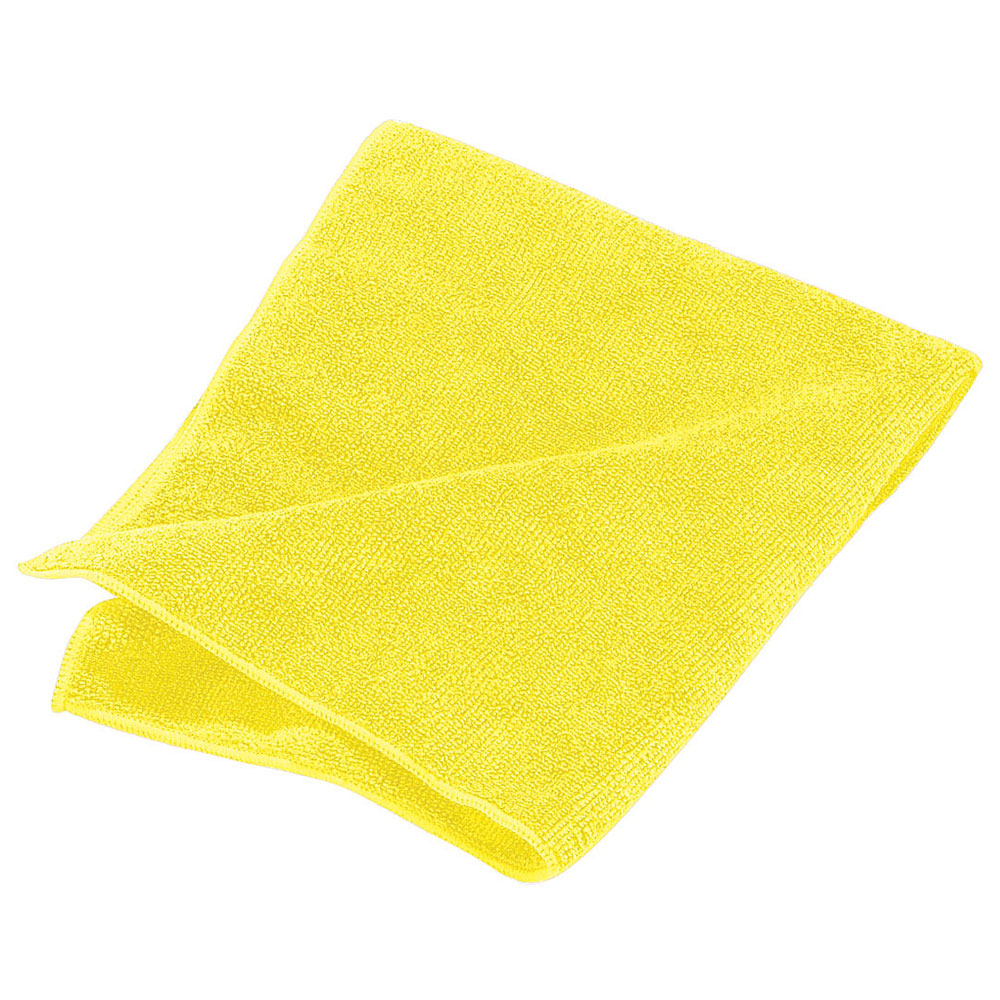 "Carlisle 3633404 16"" Square Microfiber Cleaning Cloth - Suede Finish, Yellow"