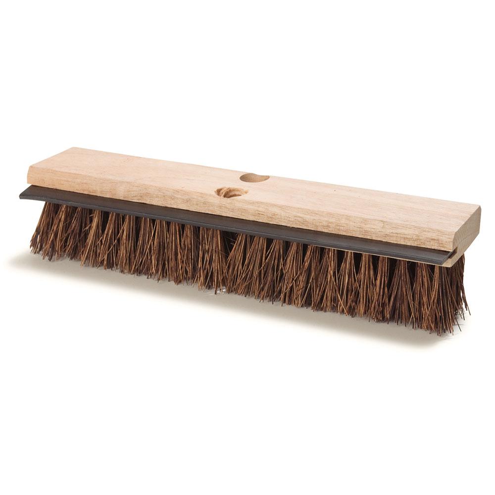 "Carlisle 3639500 14"" Floor Scrub Brush with Squeegee - Palmyra/Wood"