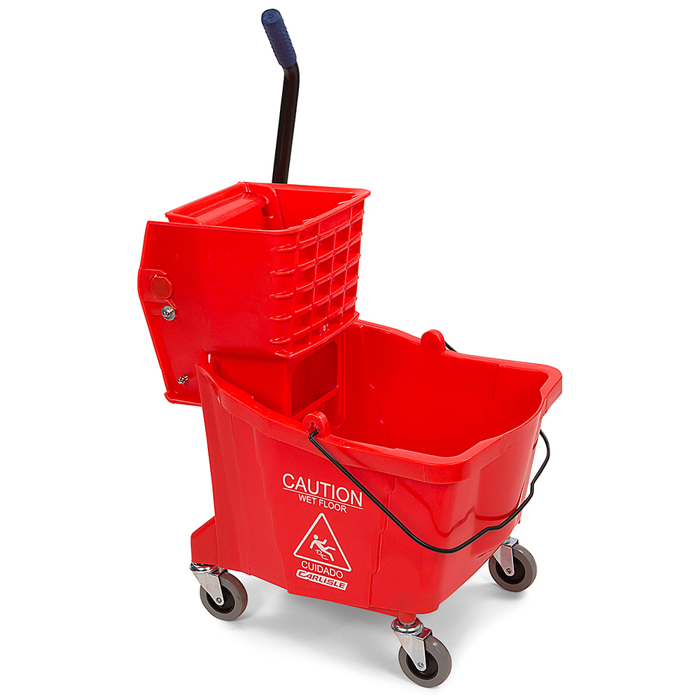 Carlisle 36904-05 35-qt Mop Bucket Combo - Side Press Wringer, Polyethylene, Red