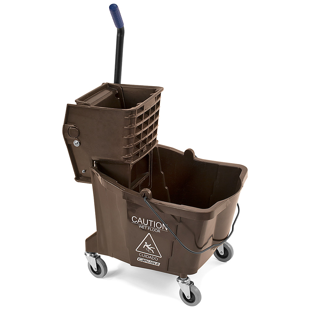 Carlisle 36904-69 35-qt Mop Bucket Combo - Side Press Wringer, Polyethylene, Brown