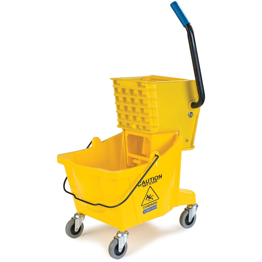Carlisle 36908-04 26-qt Mop Bucket Combo - Side Press Wringer, Polyethylene, Yellow