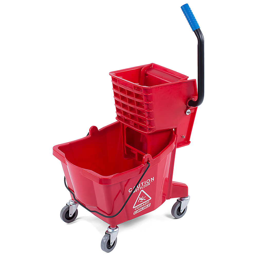 Carlisle 36908-05 26-qt Mop Bucket Combo - Side Press Wringer, Polyethylene, Red