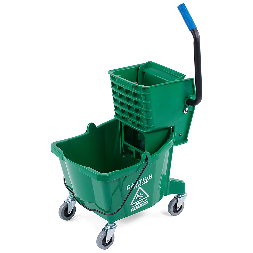 Carlisle 36908-09 26-qt Mop Bucket Combo - Side Press Wringer, Polyethylene, Green