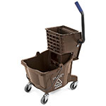Carlisle 3690869 26-qt Mop Bucket Combo - Side Press Wringer, Polyethylene, Brown