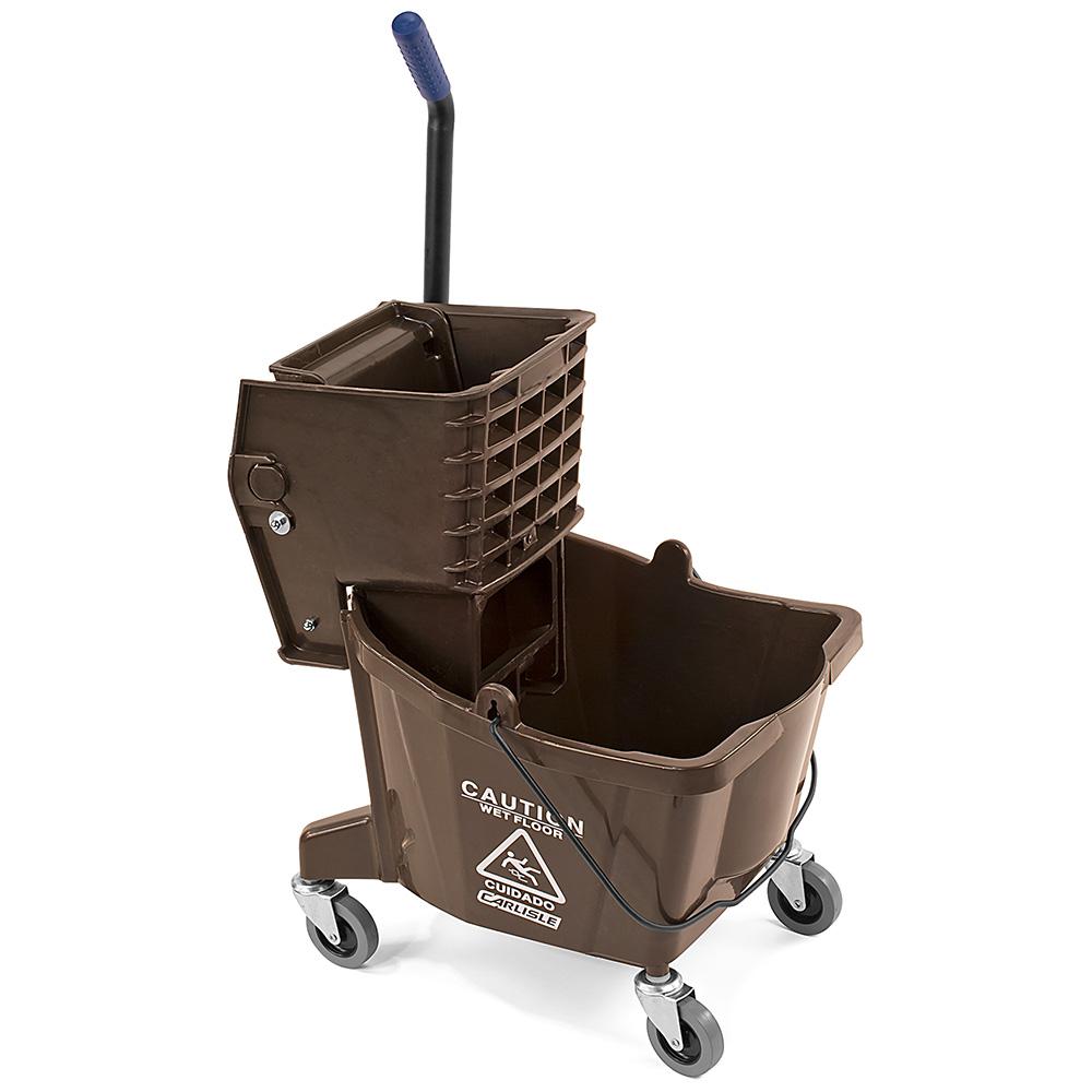 Carlisle 3690869 26-qt Mop Bucket Combo - Side Press Wringer, Polyethylene, Brown