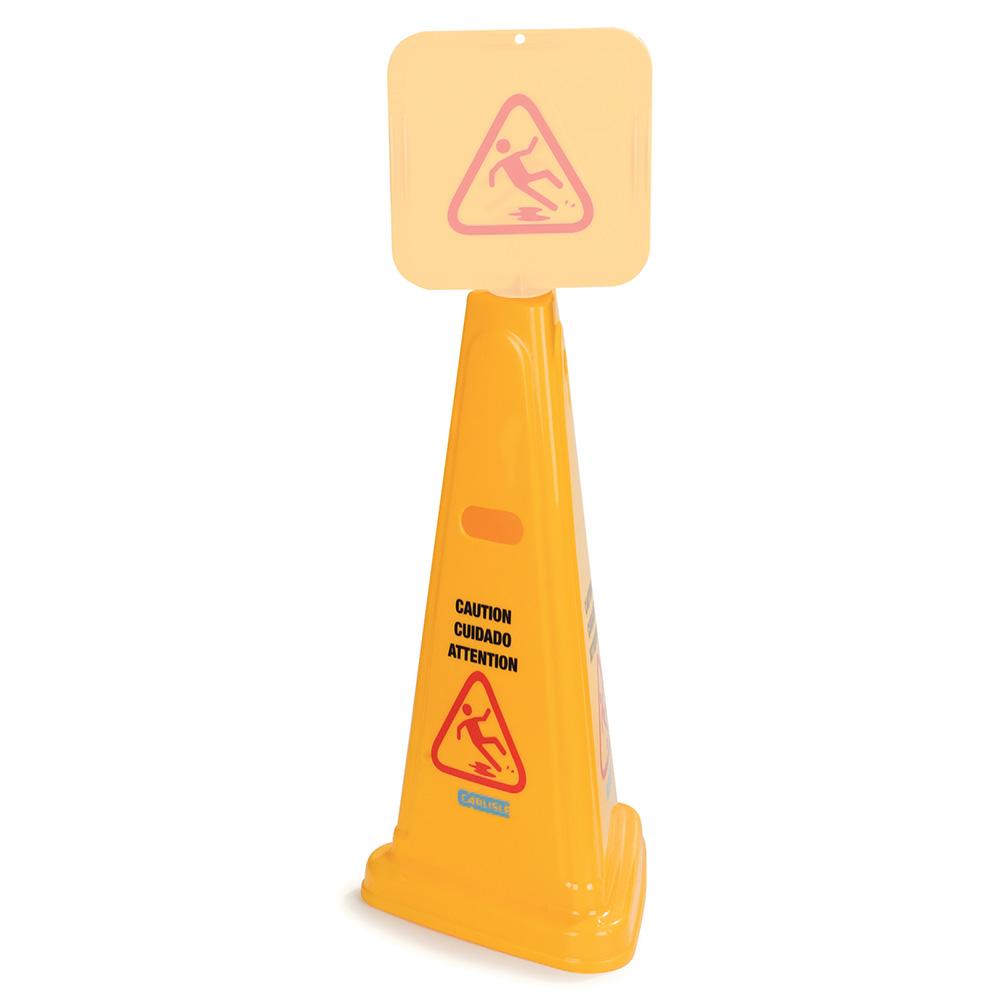 "Carlisle 3694004 Caution"" Cone Floor Sign - 13-1/2x27"" Triangular, Polypropylene, Yellow"