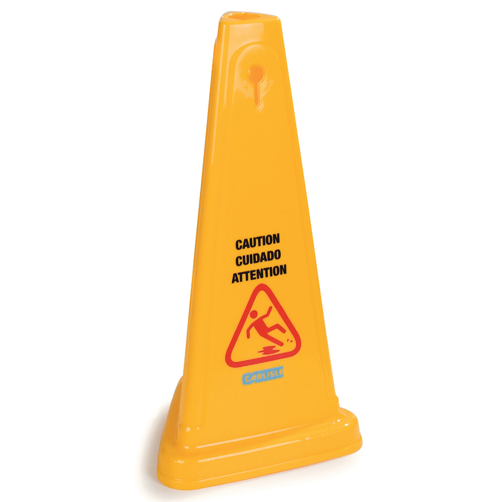 "Carlisle 36940-04 Caution"" Cone Floor Sign - 13-1/2x27"" Triangular, Polypropylene, Yellow"