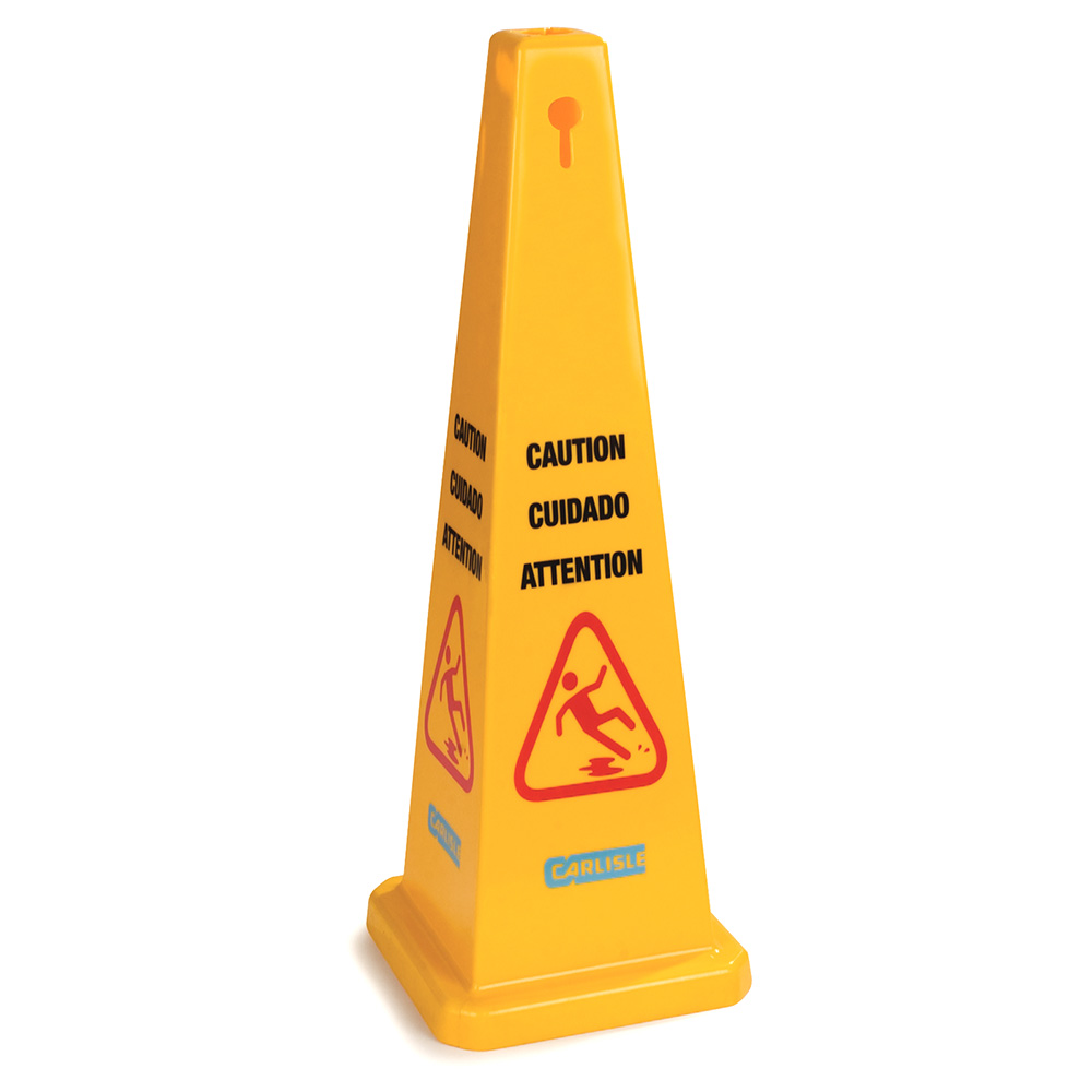 "Carlisle 36941-04 Caution"" Cone Floor Sign - 13-1/2x36"" Triangular, Polypropylene, Yellow"