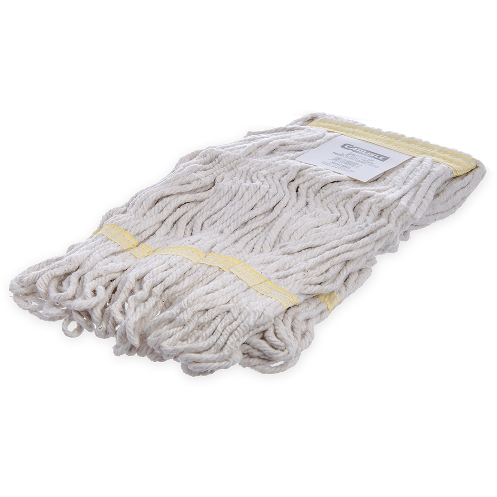 Carlisle 369413B00 Wet Mop Head - 4-Ply, Looped-End, Synthetic/Cotton Yarn, Yellow/White