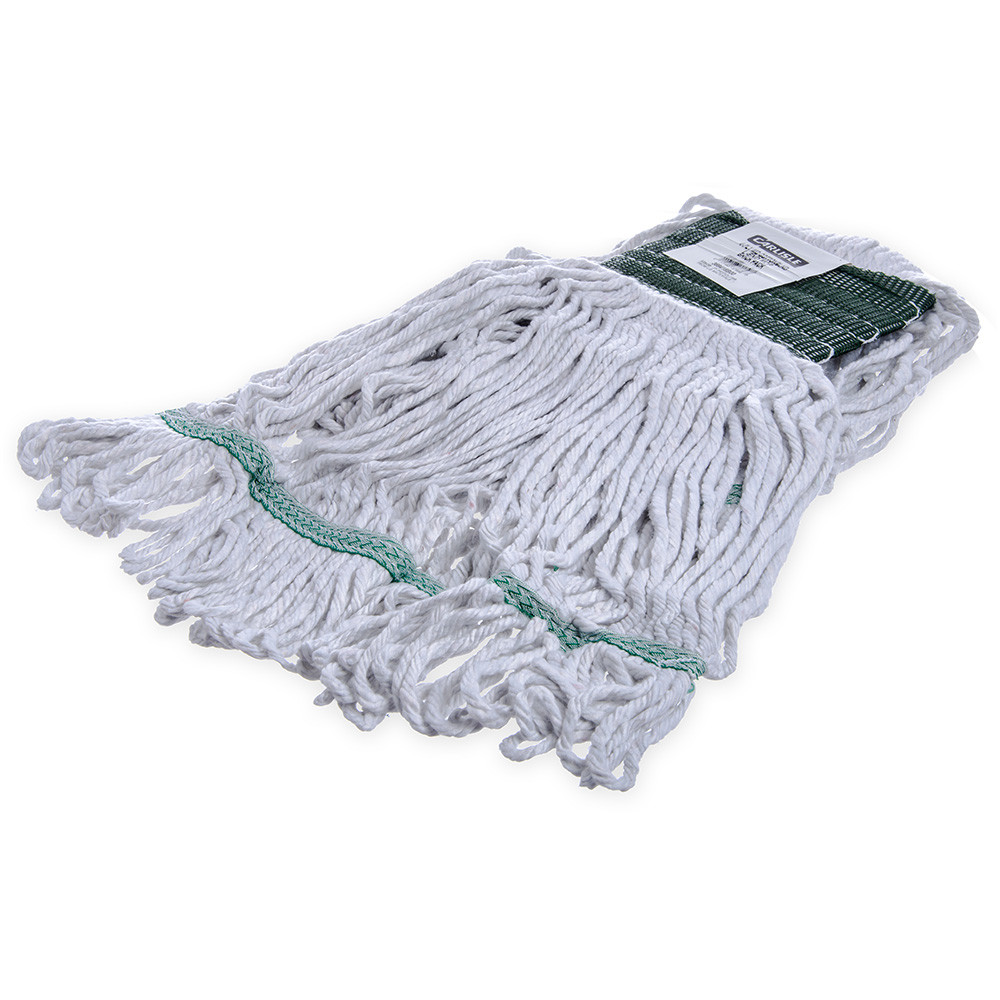 Carlisle 369418B00 Wet Mop Head - 4-Ply, Synthetic/Cotton Yarn, Green/White