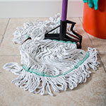 Carlisle 369419B00 Wet Mop Head - 4-Ply, Looped-End, Synthetic/Cotton Yarn, Green/White