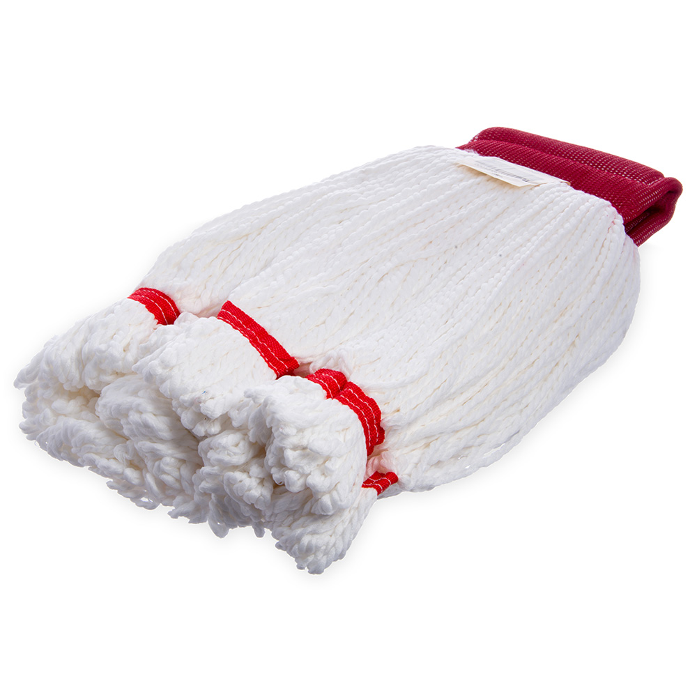 Carlisle 369420-02 Wet Mop Head - Looped End, Microfiber Yarn, Red/White