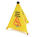 "Carlisle 36942-04 Caution"" Pop-Up Cone Floor Sign - 18x20"" Multi-Lingual, Nylon, Yellow"