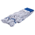 Carlisle 36943000 Wet Mop Head - 4-Ply, Synthetic/Cotton Yarn, Blue/White