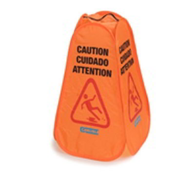 "Carlisle 36943-24 Caution"" Pop-Up Cone Floor Sign - 13x23-3/4"" Multi-Lingual, Nylon, Orange"