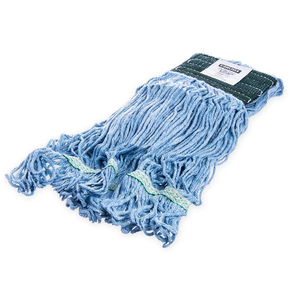 Carlisle 369448B14 Wet Mop Head - 4-Ply, Synthetic/Cotton Yarn, Green/Blue
