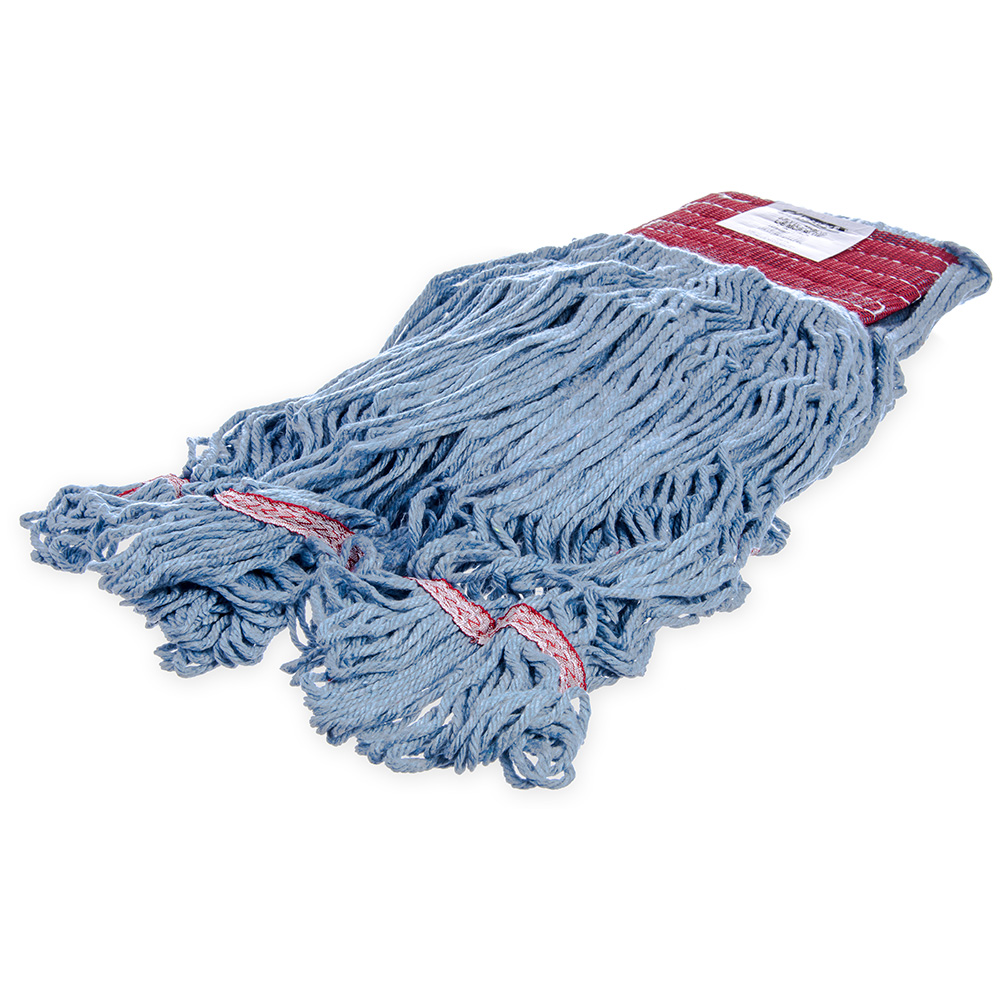 Carlisle 369454B14 Wet Mop Head - 4-Ply, Synthetic/Cotton Yarn, Red/Blue