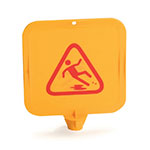 "Carlisle 3694704 13-1/2"" Square Safety Cone Top Card - ""Caution"" Picture, Plastic, Yellow"