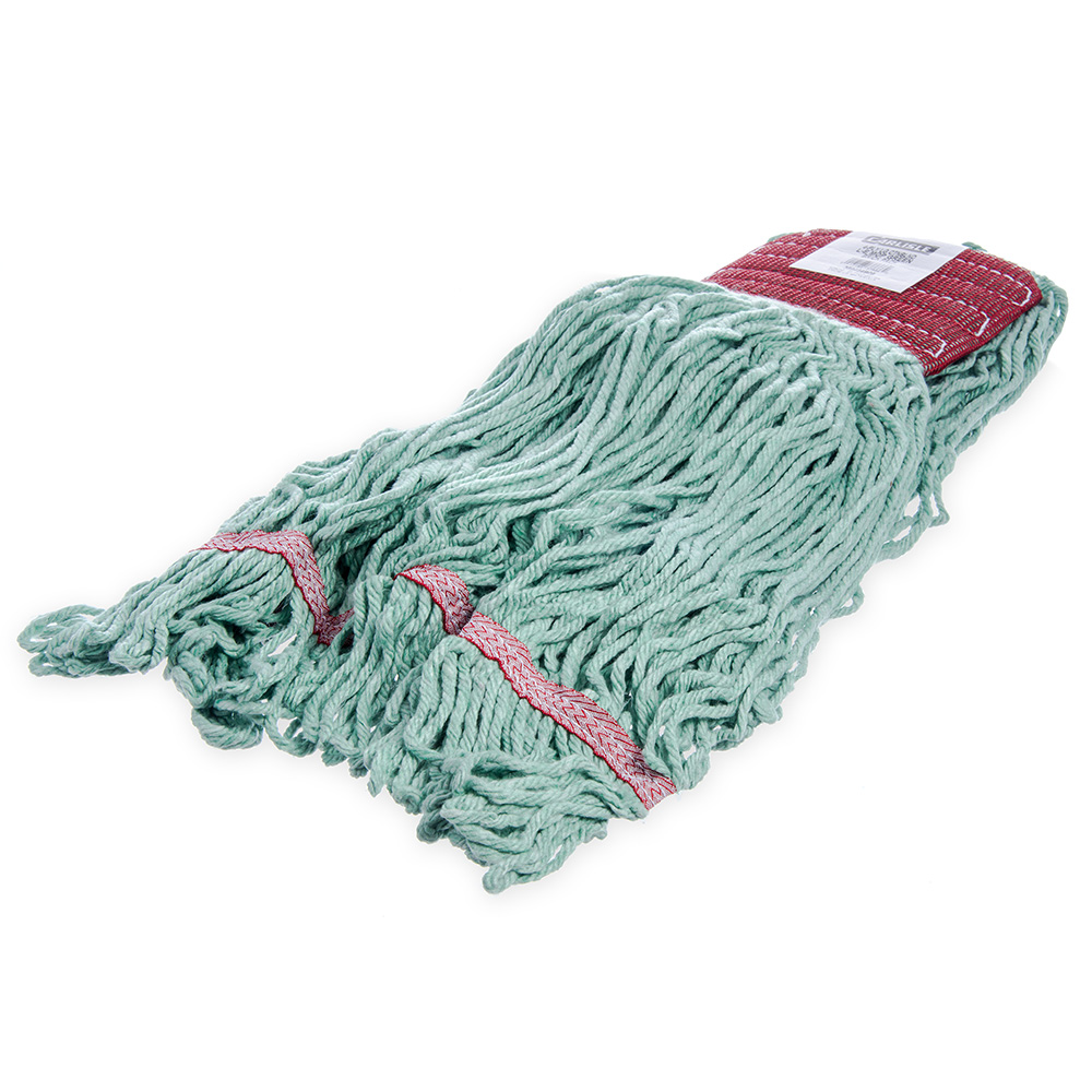 Carlisle 369484B09 Wet Mop Head - 4-Ply, Synthetic/Cotton Yarn, Green/Red