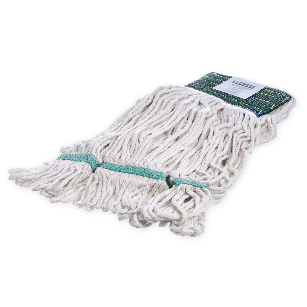 Carlisle 369551B00 Wet Mop Head - 4-Ply, Synthetic/Cotton Yarn, White/Green