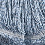 Carlisle 369670B14 Medium Finishing Mop Head - 4-Ply, Rayon/Cotton, White/Blue