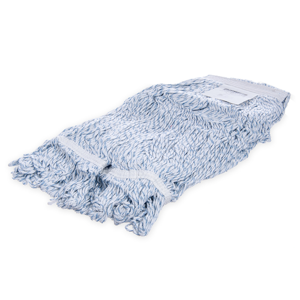 Carlisle 369670B14 Medium Finishing Mop Head - 4-Ply, Rayon/Cotton, White/Blue