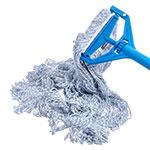 Carlisle 369674B14 Large Finishing Mop Head - 4-Ply, Rayon/Cotton, White/Blue
