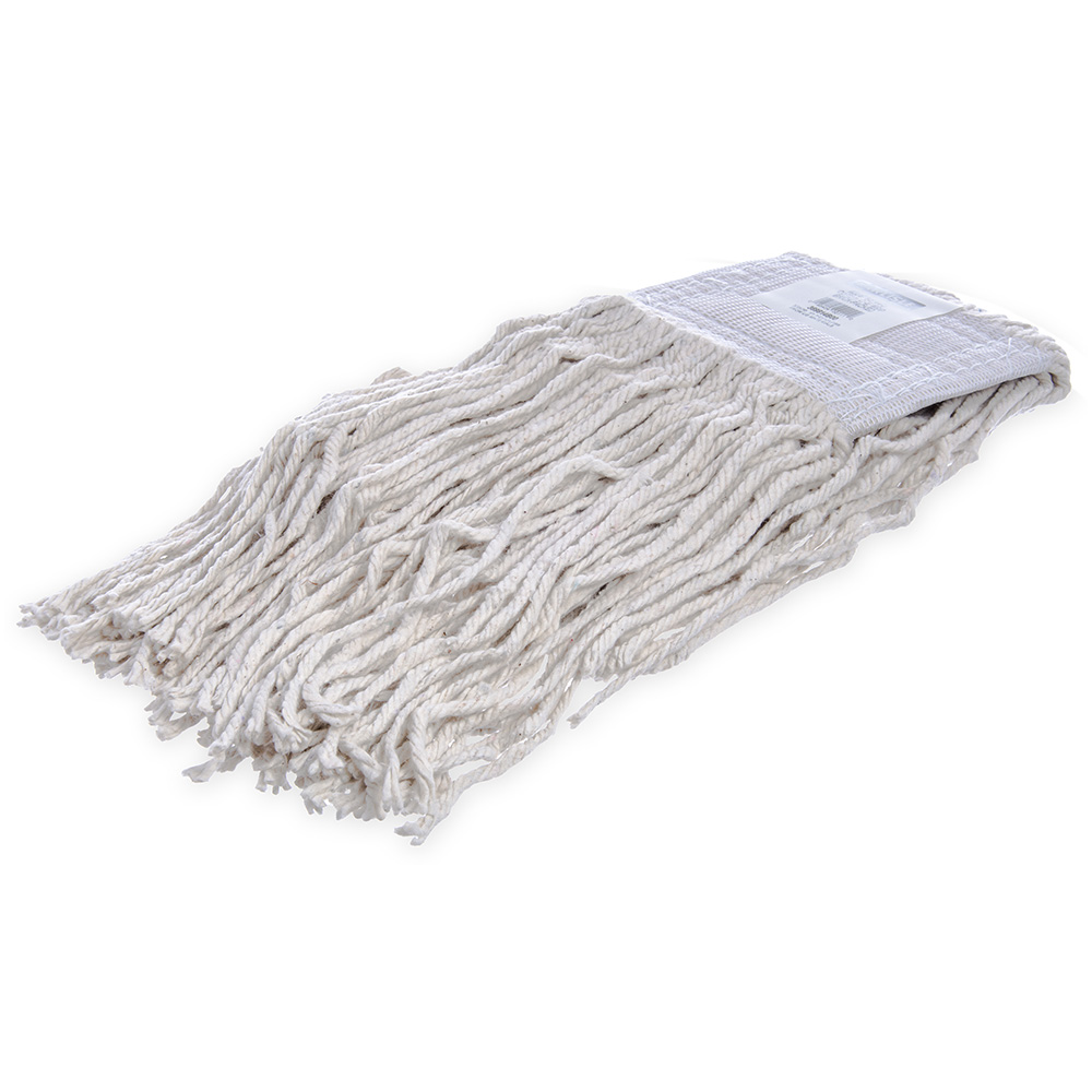 Carlisle 369814B00 Wet Mop Head - #20, 4-Ply, Cut-End, White Cotton Yarn