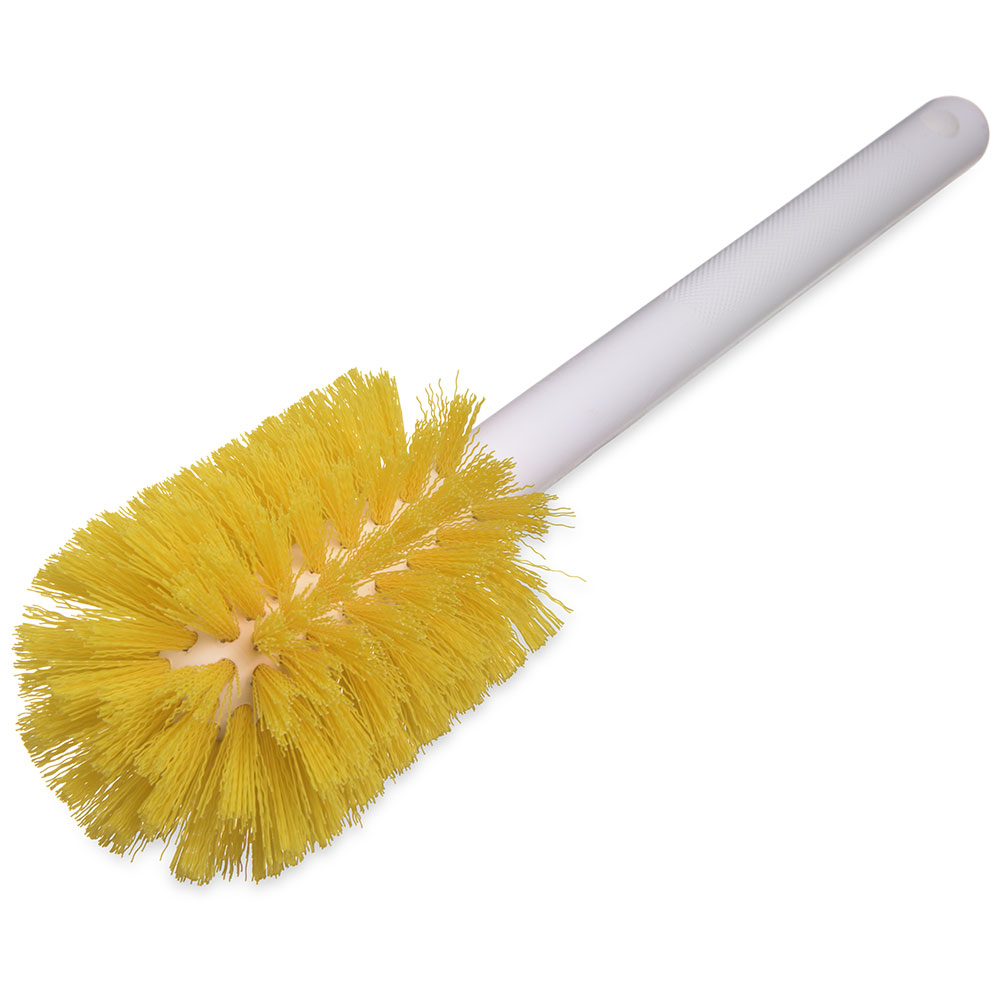"Carlisle 4000004 12"" Bottle Brush - Wire/Poly, White/Yellow"