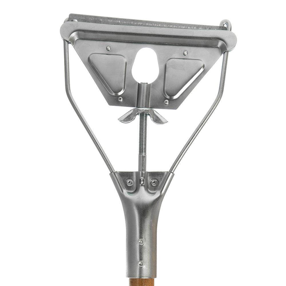 "Carlisle 4034000 63"" Quick-Change Mop Handle - Metal Head, Wood Handle"