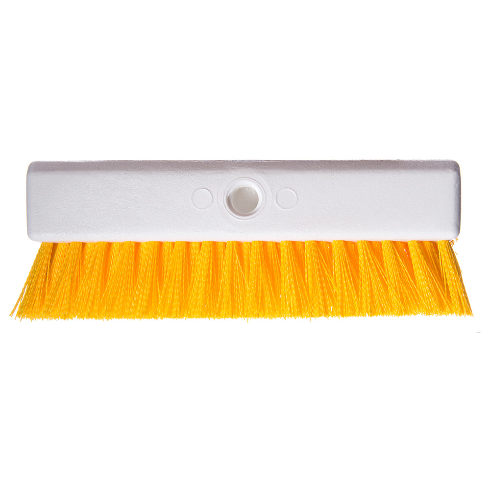 "Carlisle 4042304 10"" Hi-Lo Floor Brush Head - Crimped Synthetic Bristles, Poly, Yellow"