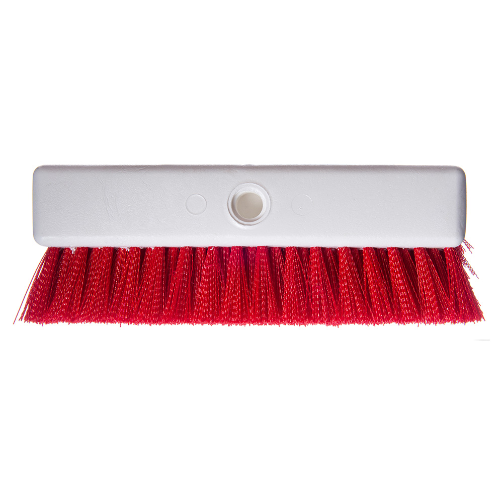 "Carlisle 4042305 10"" Hi-Lo Floor Brush Head - Crimped Synthetic Bristles, Poly, Red"