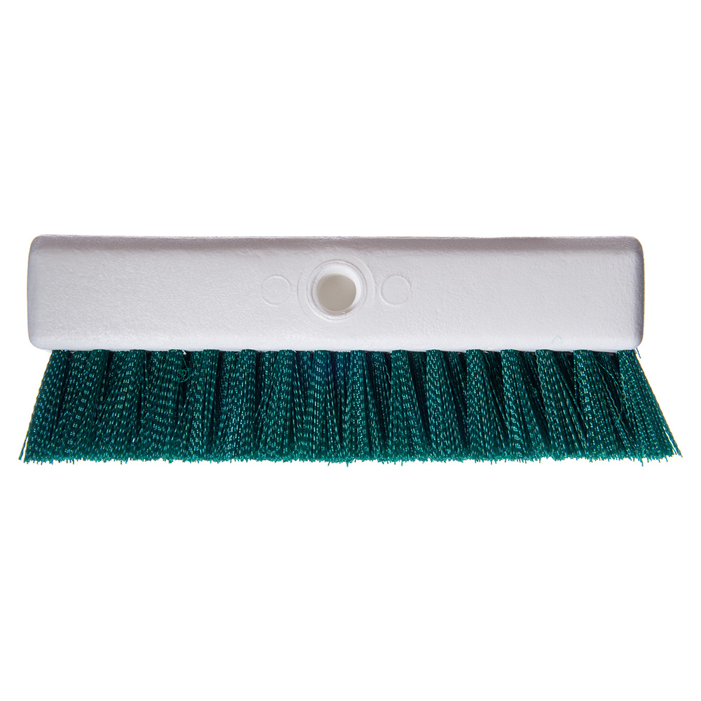 "Carlisle 4042309 10"" Hi-Lo Floor Brush Head - Crimped Synthetic Bristles, Poly, Green"