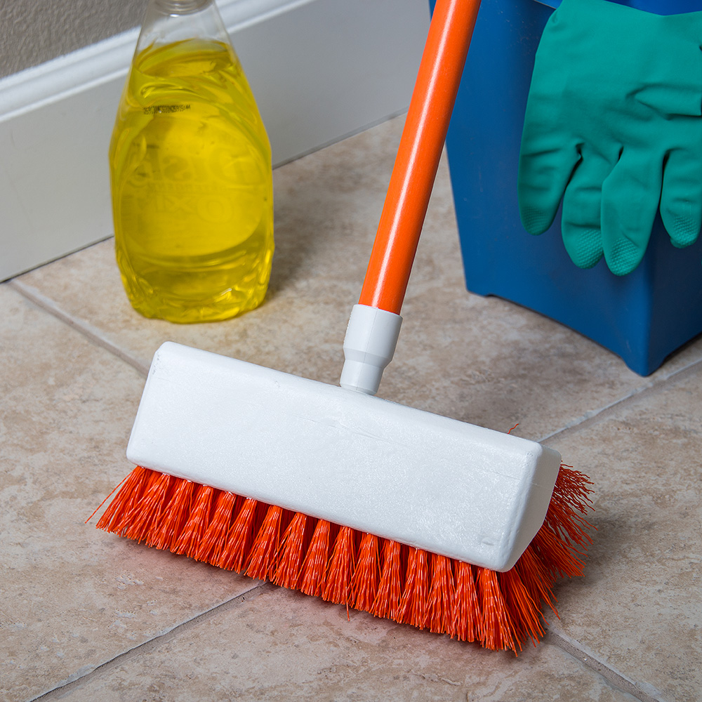 "Carlisle 4042324 10"" Hi-Lo Scrub Brush - Orange"