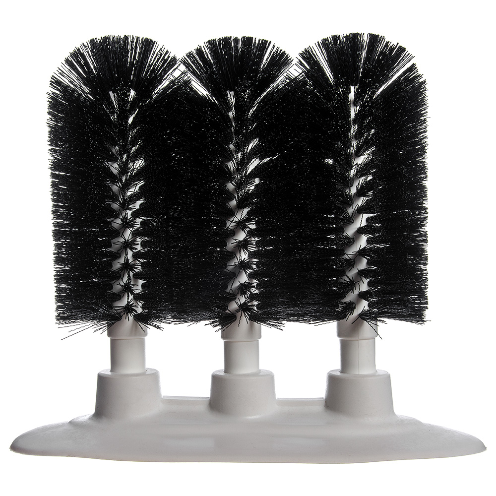 "Carlisle 4046103 8"" Triple Glass Washer - Polyester/Plastic,  Black"