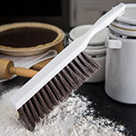"Carlisle 4048001 13"" Counter Bench Brush w/ White Handle & Brown Soft Polyester Bristles, BPA-Free"