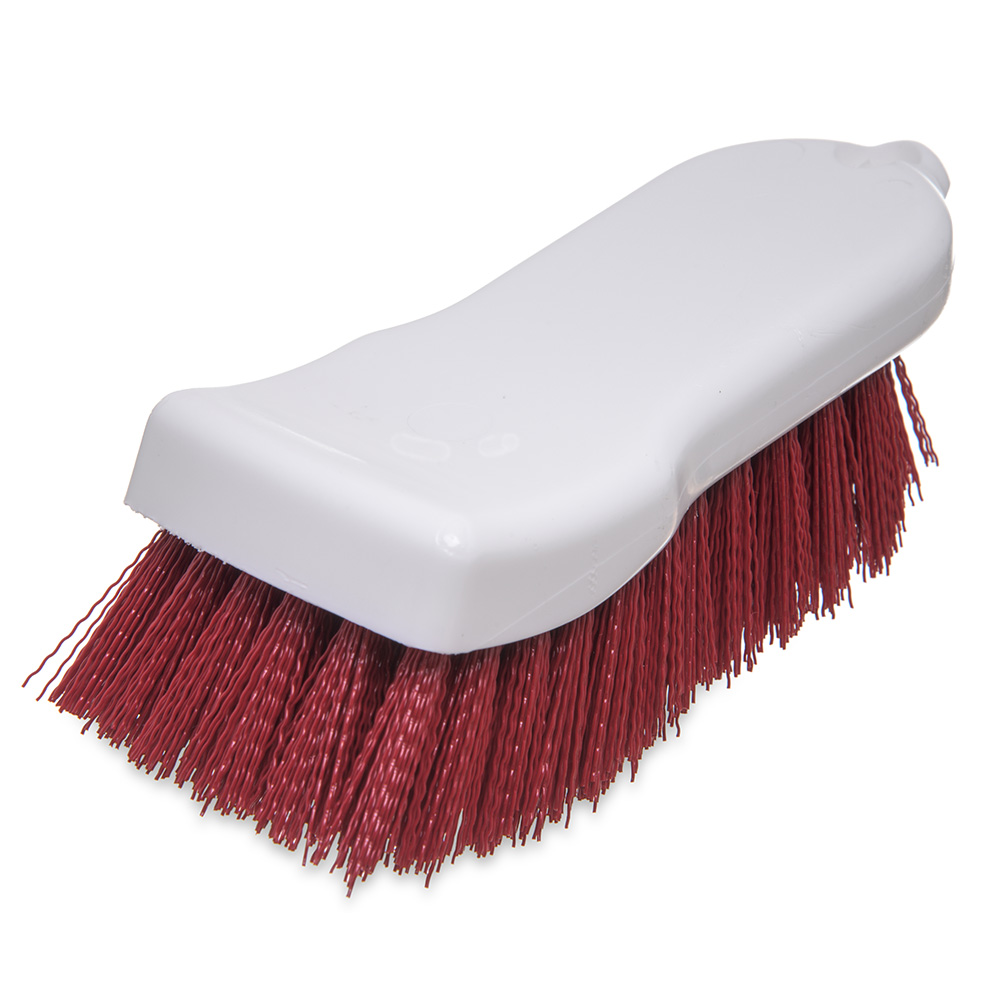 "Carlisle 4052105 Cutting Board Brush - 6x2-1/2"" White/Red"