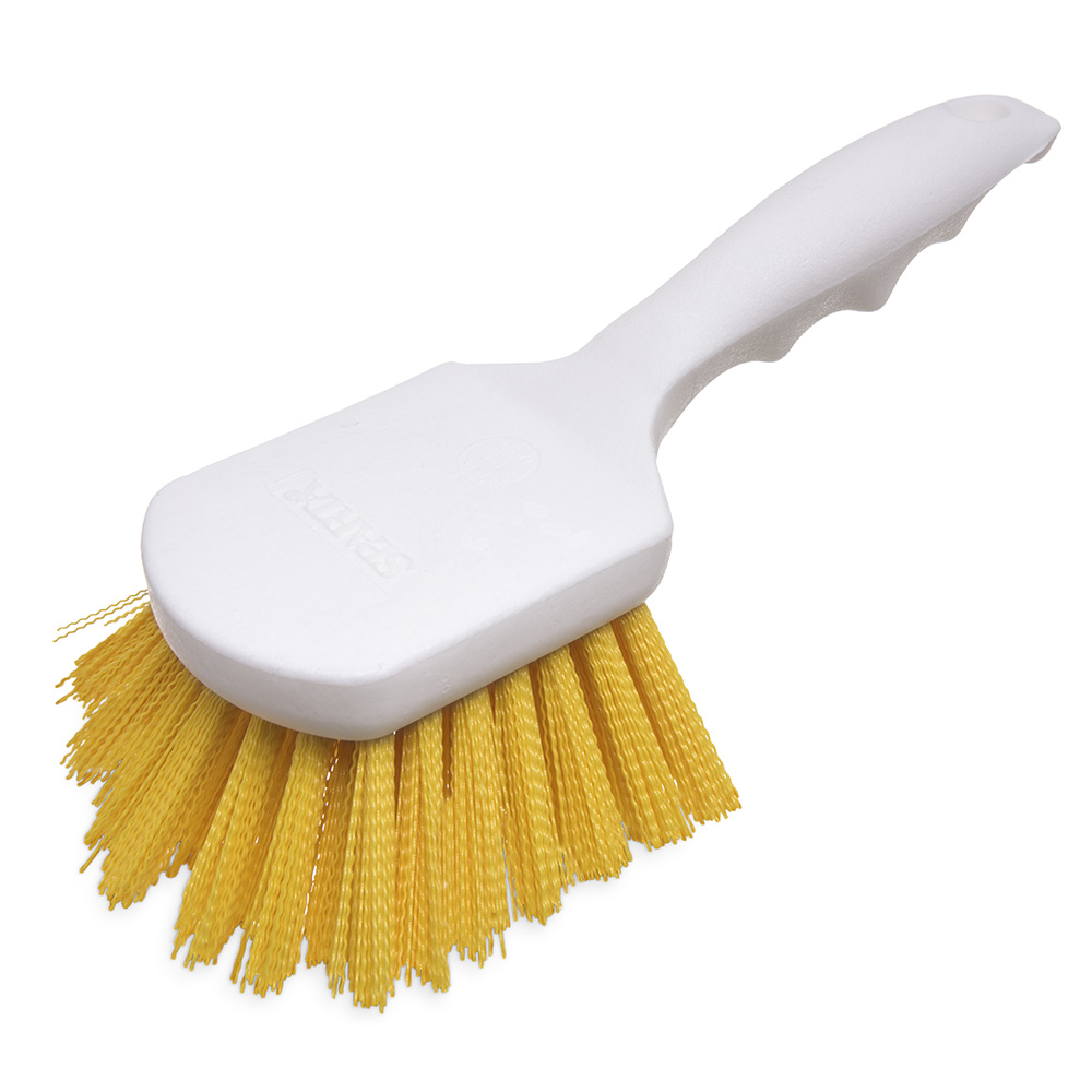 "Carlisle 4054104 8"" Utility Scrub Brush - Angled, Poly, Yellow"