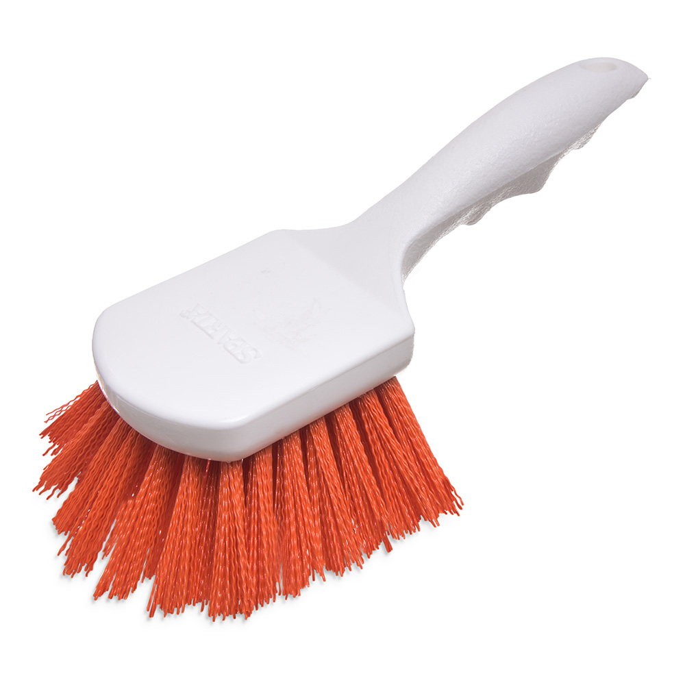 "Carlisle 4054124 8"" Utility Scrub Brush - Angled, Poly, Orange"