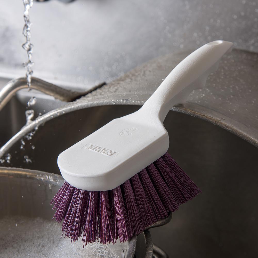 "Carlisle 4054168 8"" Utility Scrub Brush - Angled, Poly, Purple"