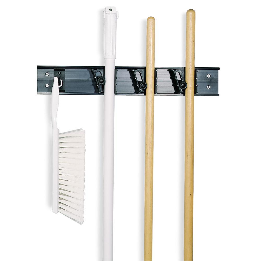 Carlisle 4073100 Sparta Roll'N Grip Brush/Broom Rack, 18 in, w/ 1 Hook & 3 Holders