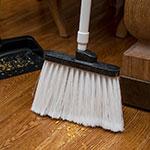 "Carlisle 4108202 12"" Angle Broom - 48"" Fiberglass Handle, Flagged Bristles, White"