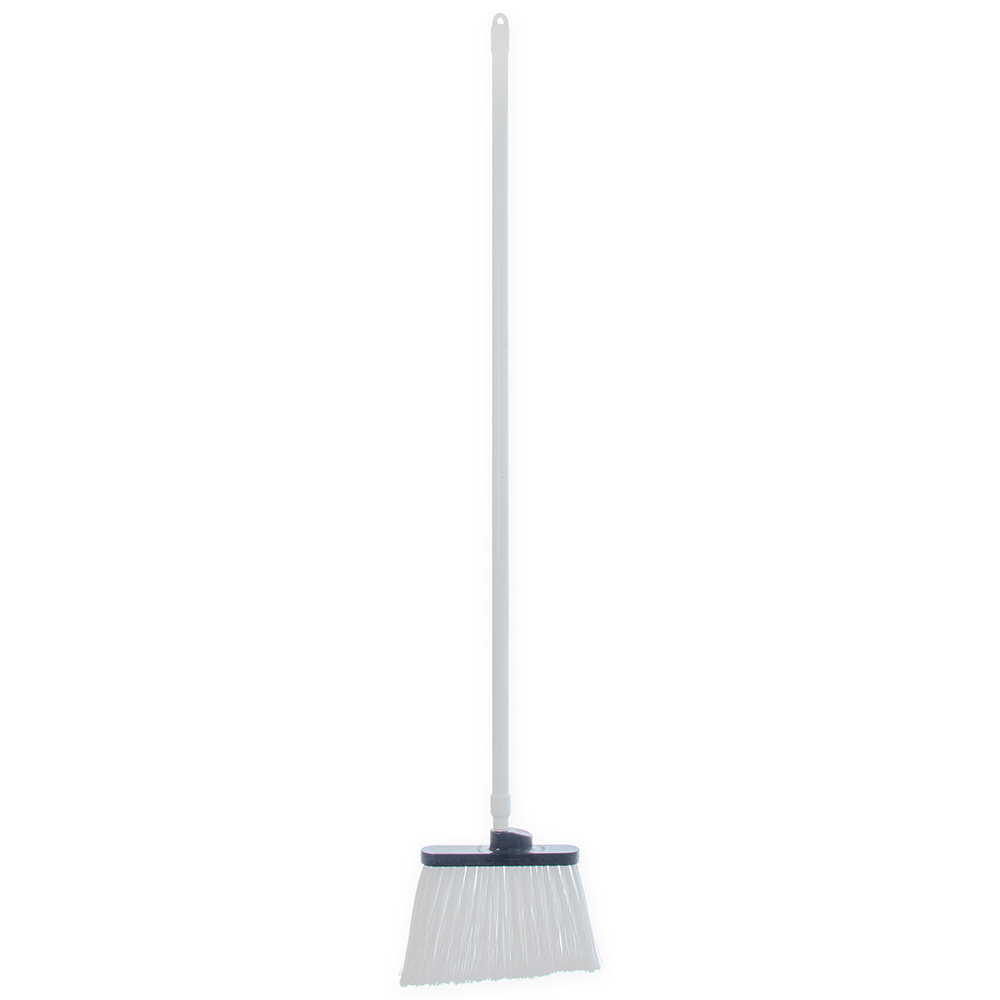 "Carlisle 4108202 12"" Angle Broom - 48"" Fiberglass Handle, Flagged Bristles, White"